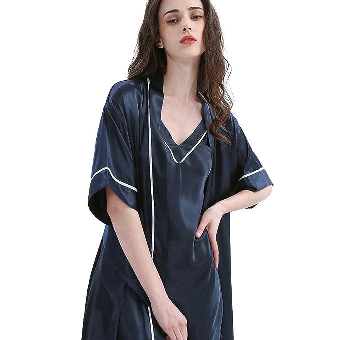Dama Sexy Pijama De Seda De Dos Piezas Con Cuello En V Tira De Dormir Ropa De Manga Corta Batas De Albornoz Trajes Cómodos, Navy-XL: Amazon.es: Ropa y ...