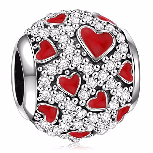 HQCROW 925 Sterling Silver Heart of Romance Vintage Charms Bead for European Bracelets