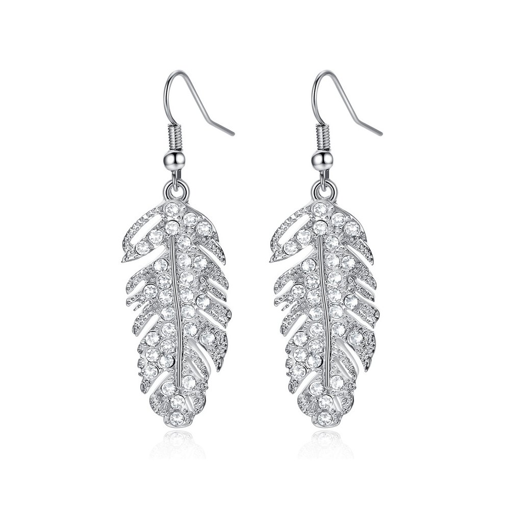 WLLAY Shining Crystal Large Feather Natural Leaf Drop Earring Gold Silver for Chose