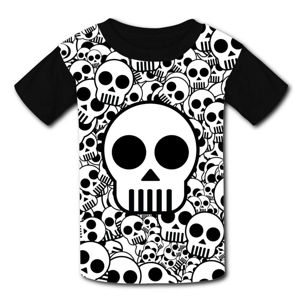Youth 3D Printed Creative Skeleton Pattern Casual T-Shirt Short Sleeve for Kids Creative Graphic Design Summer Tee