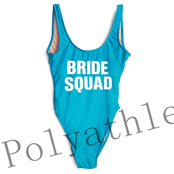 b83a1647a3 Image Unavailable. Image not available for. Color: NIJKDY One Piece Swimsuit  Bride Squad High Cut Bathing Suit