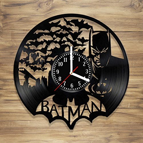 Batman Vinyl Wall Clock Dark Knight Gotham Comics Superhero Perfect Art Decorate Home MODERN Style UNIQUE GIFT idea for Him Her (12 inches)]()