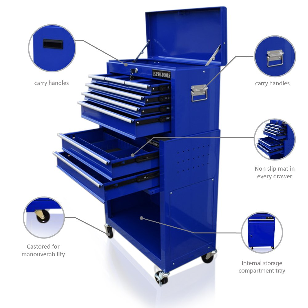 Carro de herramientas de US Pro Tools, color azul, con cajones separados US.PRO-TOOLS