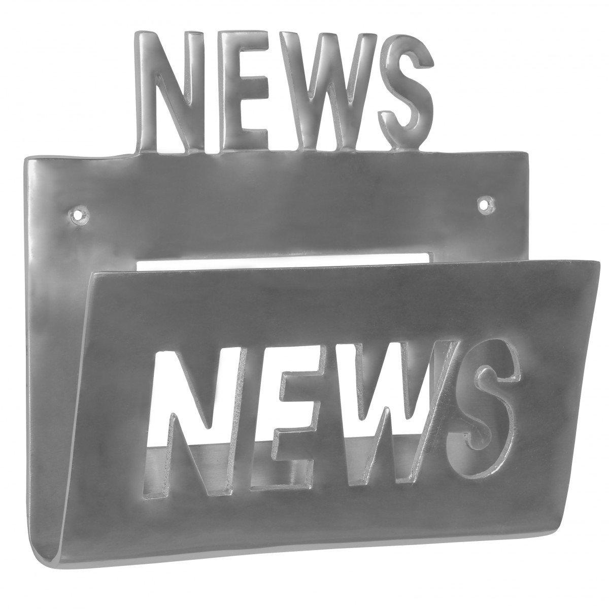 FineBuy Deko Wand Zeitungsst/änder Alu-Minium Zeitungshalter Metall Zeitschriftenhalter Industrial Style Silber-Farben zum auf-h/ängen Vintage Zeitschriftenst/änder h/ängend mit Ablagefach 30 x 27 cm