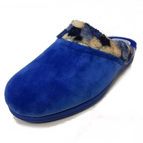 Zapatilla Estar por casa Mujer Invierno en azulón Suela cuña Caucho (37 EU)