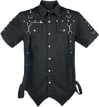 Gothicana by EMP Camisa Negra con tachuelas Camisa Negro: Amazon.es: Ropa y accesorios