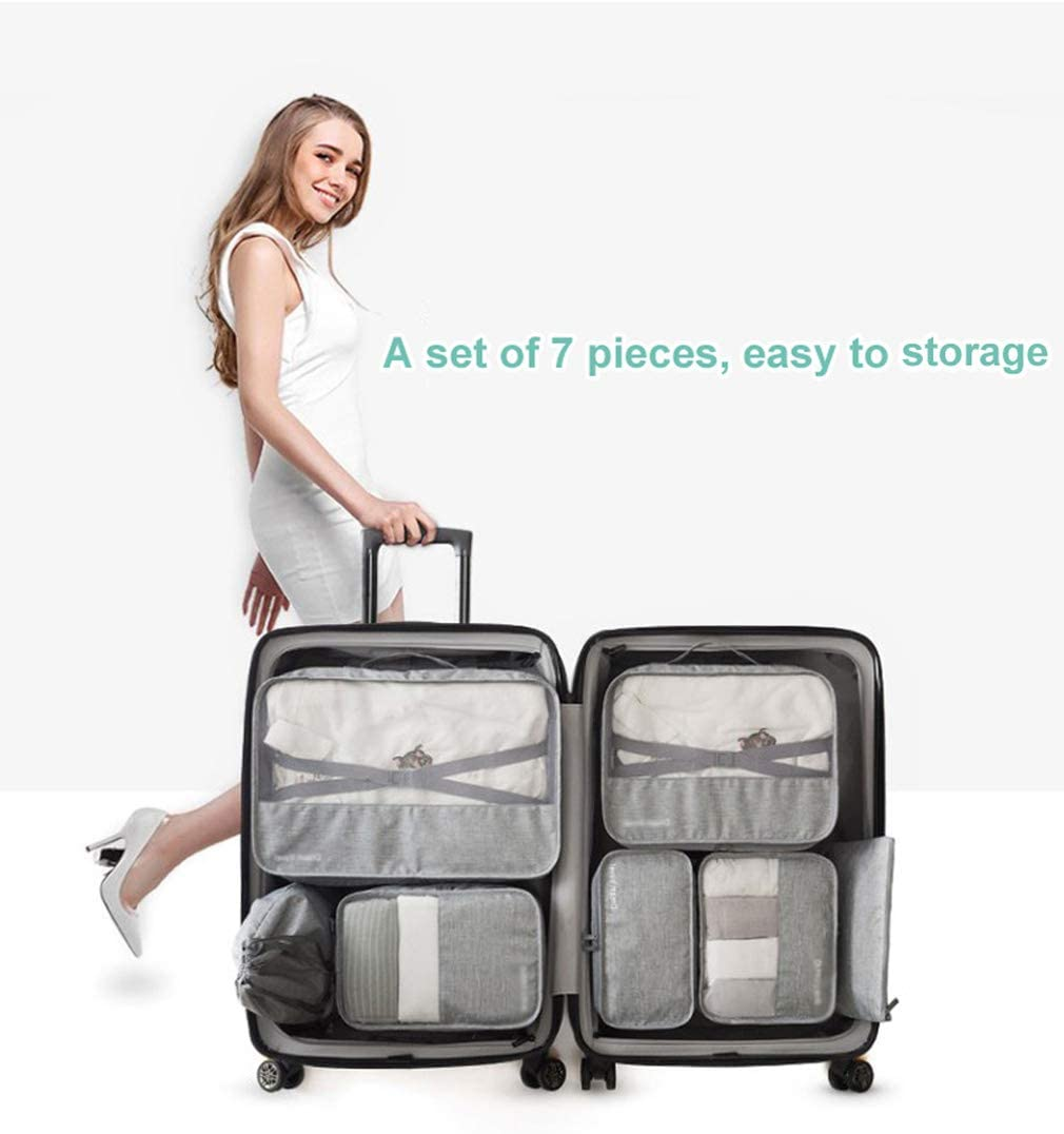 Surblue Travel Luggage Organizer Packing Cubes 7 Set Accessories with Compressed Belt,Blue