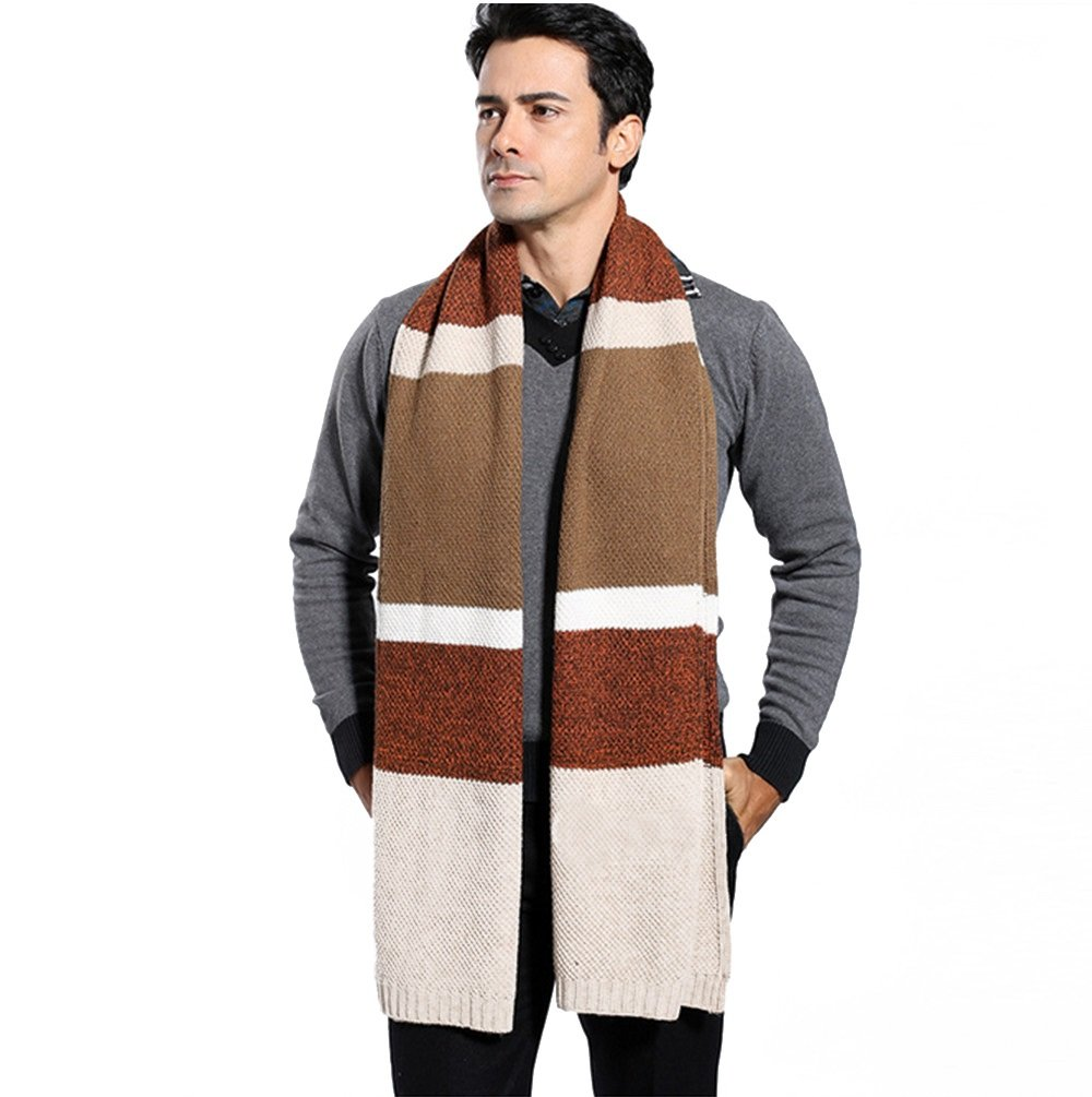 Winter Cashmere Scarf for Men - Color Block Stripe Wool Knitted Fashion Long Scarves (Brown)