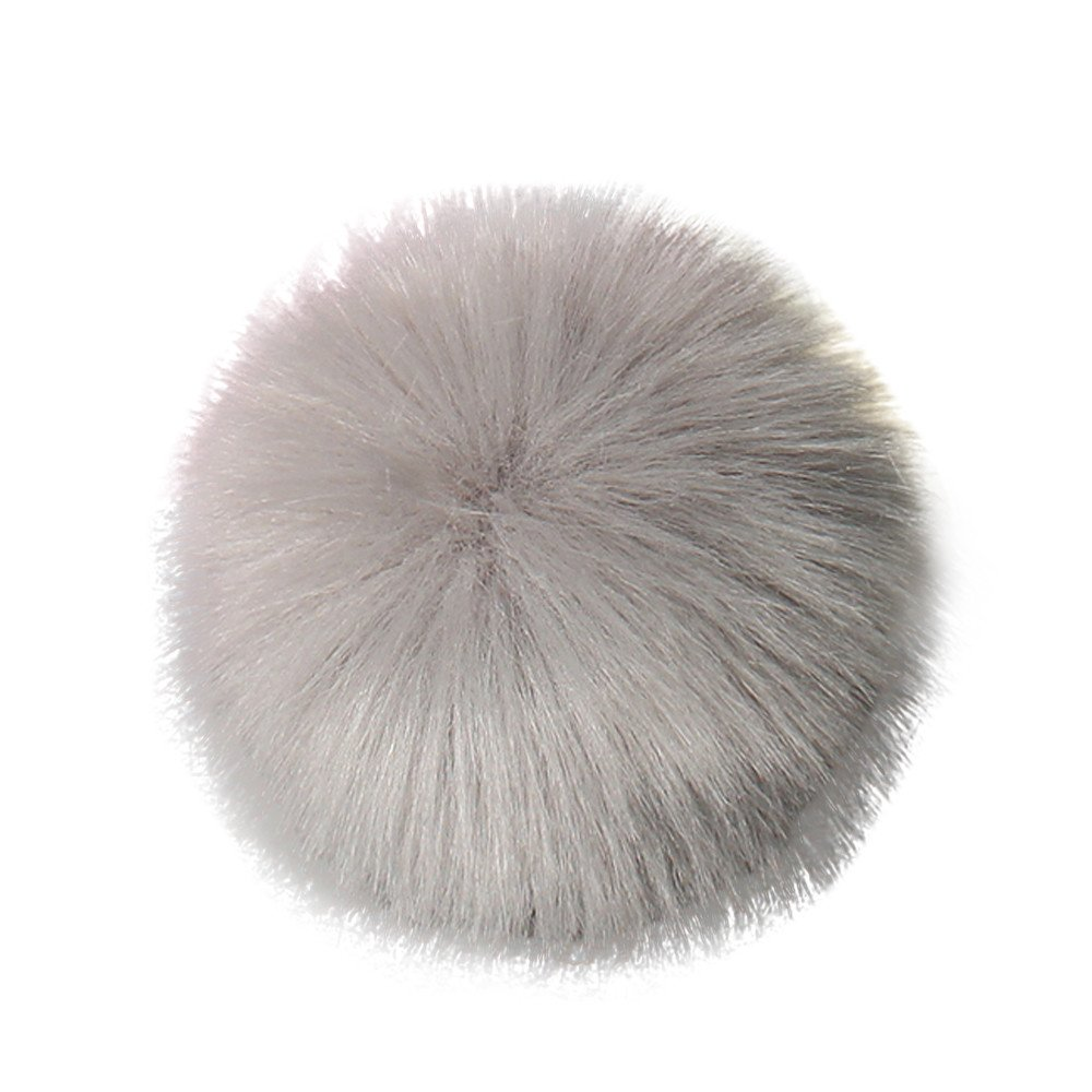 Kinrui DIY 12pcs Faux Fox Fur Fluffy Pompom Ball for Knitting Hat Hats (Gray -1PCS)