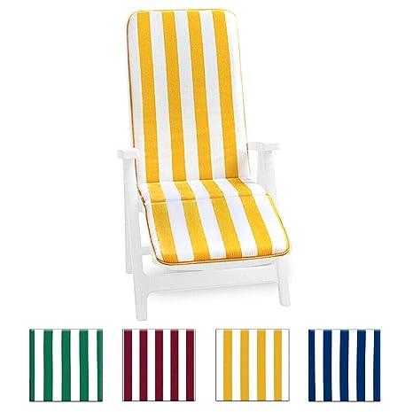 Cojín para tumbona universal, plegable, reposapiés, para piscina, mar, jardín - tejido de algodón - modelo: Cairo, VERDE