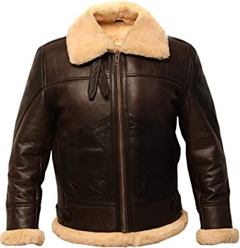 B3 Brown Bomber Real Shearling Two Tone Sheepskin Leather Jacket