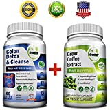 Pure Green Coffee Bean Extract + Colon Cleanse Detox Diet - Weight Loss and Detox Bundle - 120 Veggie Capsules - Gluten Free - Non GMO (1 Month Supply)