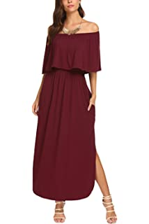 b7ab09e8ebcf5 BLUETIME Women Off The Shoulder Short Sleeve Side Split Maxi Dress with  Pockets