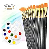 Paint Brushes TOPELEK 12 Pieces Paint Brushes, Artist Paint Brushes Set with 2 Palettes for Watercolor, Acrylic & Oil Paintings, Perfect for Painting Canvas, Ceramic, Clay, Wood & Models, Great Gift for Kids, Artists and Amateurs