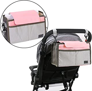 Universal Baby Pram Storage Bag with Adjustable Straps,BAFFECT Waterproof Pushchair Organiser with Cup Holder Baby Buggy Organiser Pram Buggy Stroller Organiser Storage Bag (Pink)