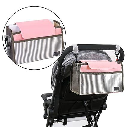 Universal Baby Pram bolsa de almacenamiento con correas ajustables,BAFFECT impermeable carrito organizador con portavasos