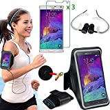 EEEKit 3in1 Kit for Samsung Galaxy Note 4, Premium Sports Running Gym Jogging Armband Case Cover 3 Pack Clear Screen Protector Film Universal 3.5mm In-Ear Stereo Earphones W/Ear Hook