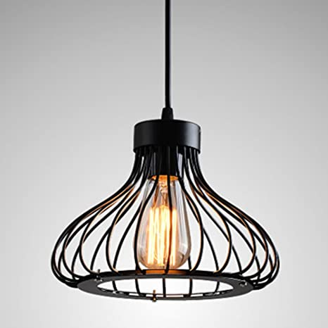 Retro pendant light metal cage lamp shade modern vintage industrial retro pendant light metal cage lamp shade modern vintage industrial loft ceiling pendant light black shade greentooth Image collections