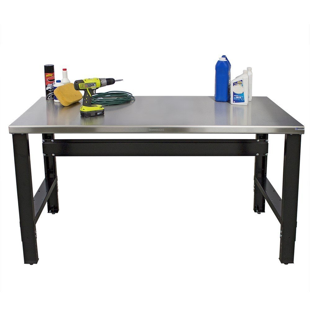 Borroughs 2018-WB100SS-EC Work Bench with Stainless Steel Top, 28 x 48 In, 2000 Pounds Load Capacity, 36'' Height, 28'' width, 48'' Length, black