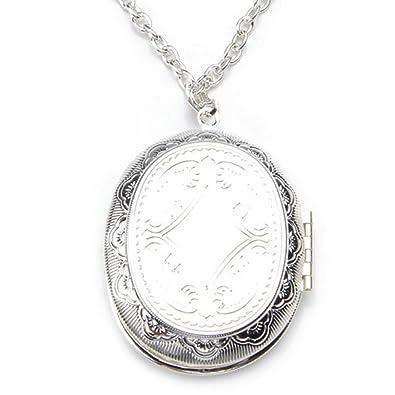 d056e45ce696 Gleader Collar Colgante Oval Medallon Relicario Poner Fotos Banado Plata   Amazon.es  Joyería