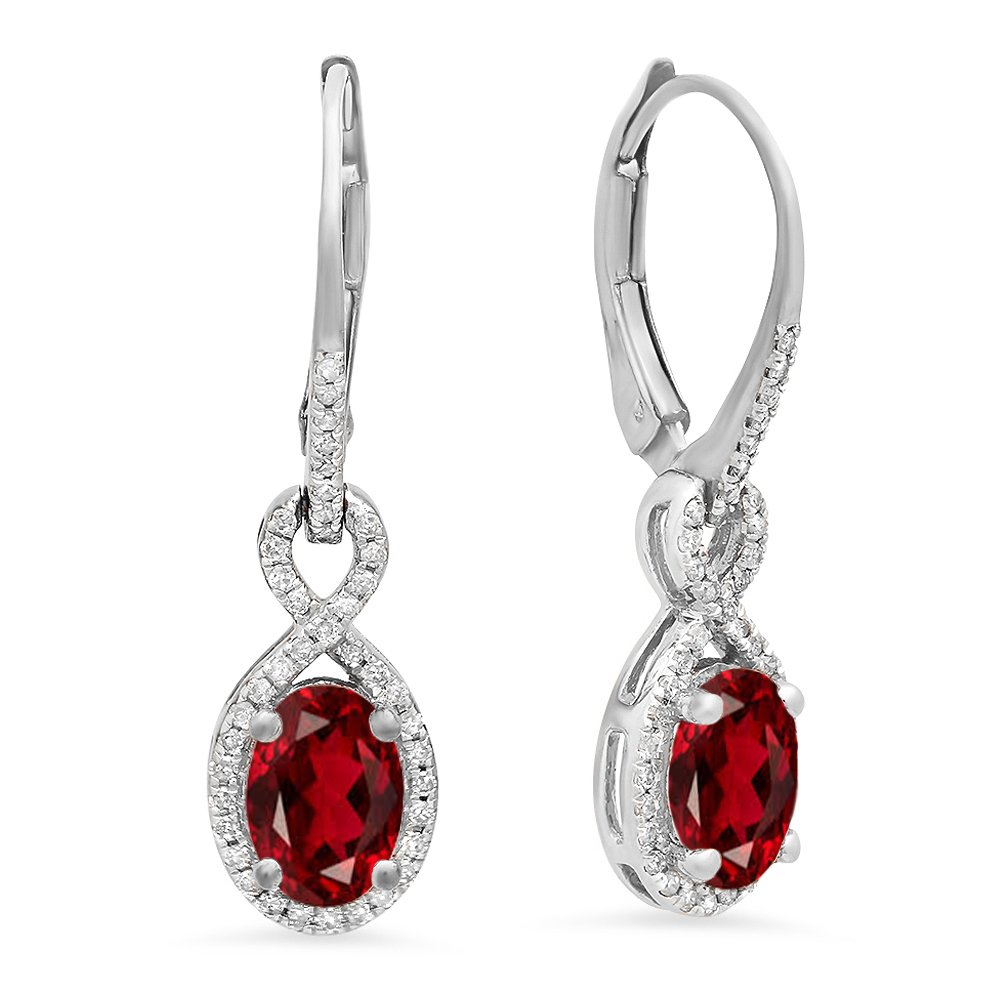 10K White Gold Oval Garnet & Round White Diamond Ladies Infinity Dangling Earrings
