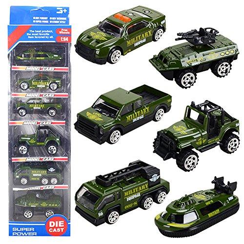 Alloy Military Vehicle Car Models Mini Pocket Size Play Jeep Truck Tank Boat Toy for Kids Boys,6Pcs Set