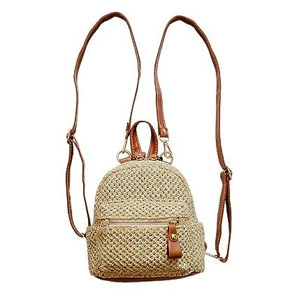 Straw Backpack Fashion Weave Mini Rucksack Travel Beach Satchel School Bags