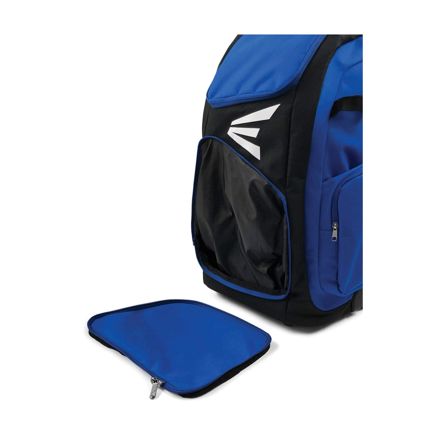 EASTON TRAVELER Bat & Equipment Wheeled Bag | Baseball Softball | 2019 | Royal | 4 Bat Sleeves | Vented Gear & Shoe Compartments | 2 Side Zippered Pockets | Telescope Handle | Stands Up | Fence Hook by Easton (Image #4)