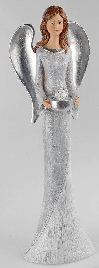 Formano Engelsfigur Keramikengel Dekoengel als Kerzenhalter in in in Pastell grau, 50 cm d3509e