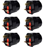 iVoler EU to UK Adapter, [ 6 Pack ] Europe to UK Power Travel Adapter EU to UK Plug Adaptor 2 Pin France, Germany, Spain and More to 3 Pin UK GB European to UK Adapter [Lifetime Warraty]- (Black)