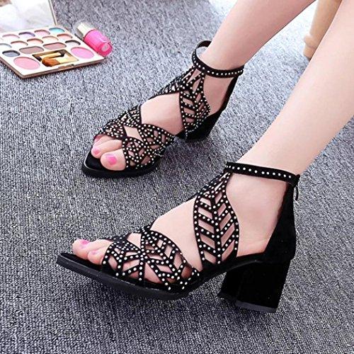 de Cu Vendimia Zapatos Verano Bohemios Negro a la Plataforma de Zapatos Sandalias de Zapatos Altos Tacones la Mujer Tefamore Eazxq8XwSn