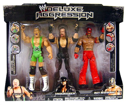 WWE Jakks Pacific Wrestling Exclusive DELUXE Aggression Action Figure 3-Pack Rey Mysterio, Undertaker and Finlay