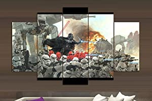 Epikkanvas Empowered Living - 5PCS Framed Darth Vader Stromtrooper Canvas - 5 Piece Starwars Vader War Fight Artwork for Office & Home Wall Decor (XLarge: 4060cm x2pcs+4080cm x2pcs+40100cm x1pc)
