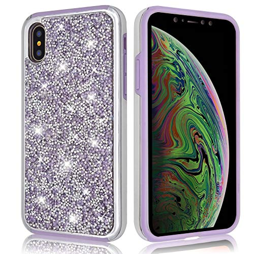 Glitter Bling Case for iPhone Xs/iPhone X, Shiny Sequin Sparkle Diamond Hybrid Rubber Hard Crystal Heavy Duty Protective Girl Women Phone Cover for Apple iPhoneXS (Purple, iPhone X/iPhone Xs)