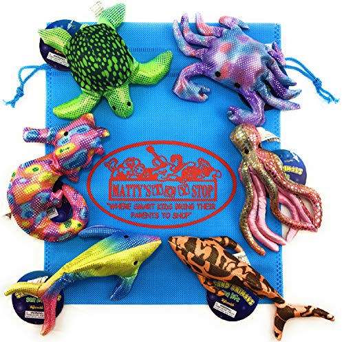 Toysmith Sand-Filled Animals Sea Life Shark, Dolphin, Crab, Seahorse, Octopus & Turtle Complete Gift Set Bundle Includes Exclusive Matty's Toy Stop Storage Bag - 6 Pack (Colors Vary)