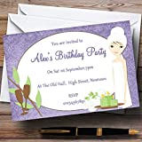 Purple Relaxing Spa Makeover Manicure Theme Personalized Birthday Party Invit.