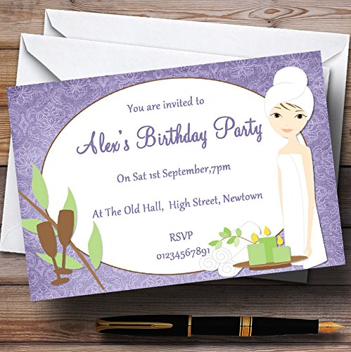 Purple Relaxing Spa Makeover Manicure Theme Personalized Birthday Party Invit. by The Card Zoo (Image #1)
