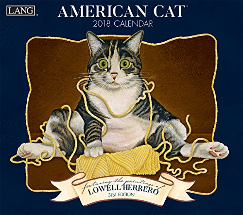 "LANG - 2018 Wall Calendar - ""American Cat"" - Artwork By Lowell Herrero - 12 Month - Open, 13 3/8"" X 24"""