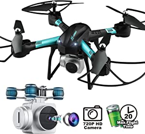 Dwi Dowellin 18-20 Mins Long Flight Time WiFi FPV Drones with 720P HD Camera Live Video RC Quadcopter with Voice Control, Altitude Hold, Gravity Sensor Drones for Kids Beginner Children Adults