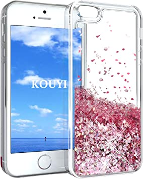 KOUYI Funda iPhone 5/5S/SE, Brillo Liquida Claro 3D Bling Cubierta Flowing Liquid diseño TPU Fundas Case Telefono Movil Smartphone Carcasas para Apple iPhone 5/iPhone 5S/iPhone SE (Oro Rosa): Amazon.es: Electrónica