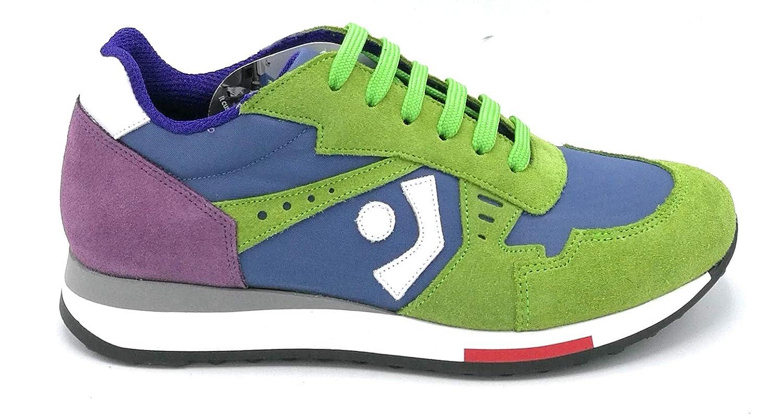 Trackstone T00511 Sneaker camoscio Verde Viola Tela Bluette