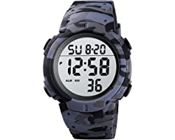 Mens Digital Sports Watch LED Screen Large Face Military Watches for Men Waterproof Casual Luminous Stopwatch Alarm Simple Ar