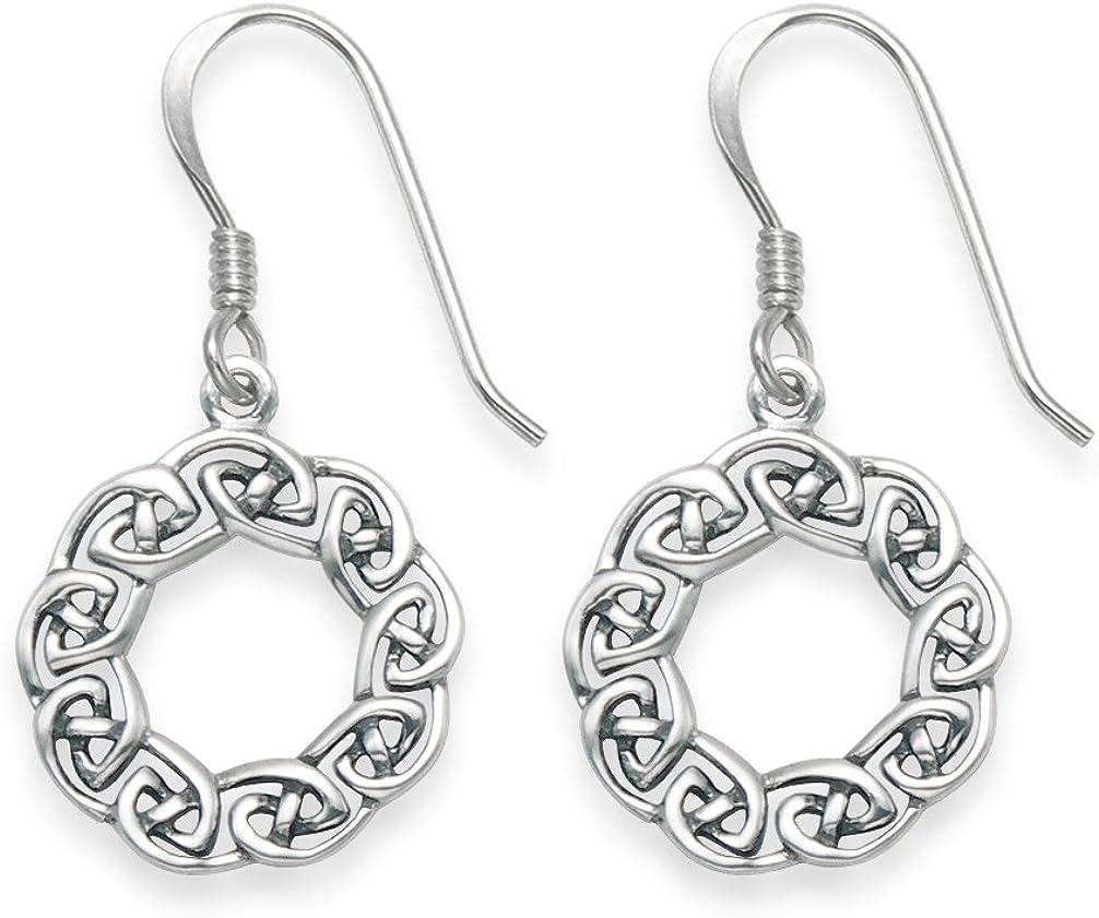 Heather Needham Pendientes celtas de plata de ley - Pendientes celtas redondos de plata con medio abierto - Tamaño: 14 mm 6044 en caja de regalo