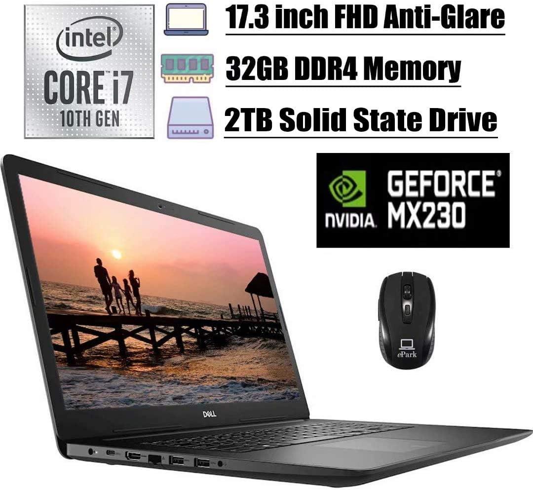 2020 Premium Dell Inspiron 17 3793 3000 Laptop, 17.3 inch FHD Anti-Glare, 10th Gen Intel Quad-Core i7-1065G7, 32GB DDR4 2TB SSD, 2GB MX230 MaxxAudio WiFi USB-C HDMI Win 10 + ePark Wireless Mouse