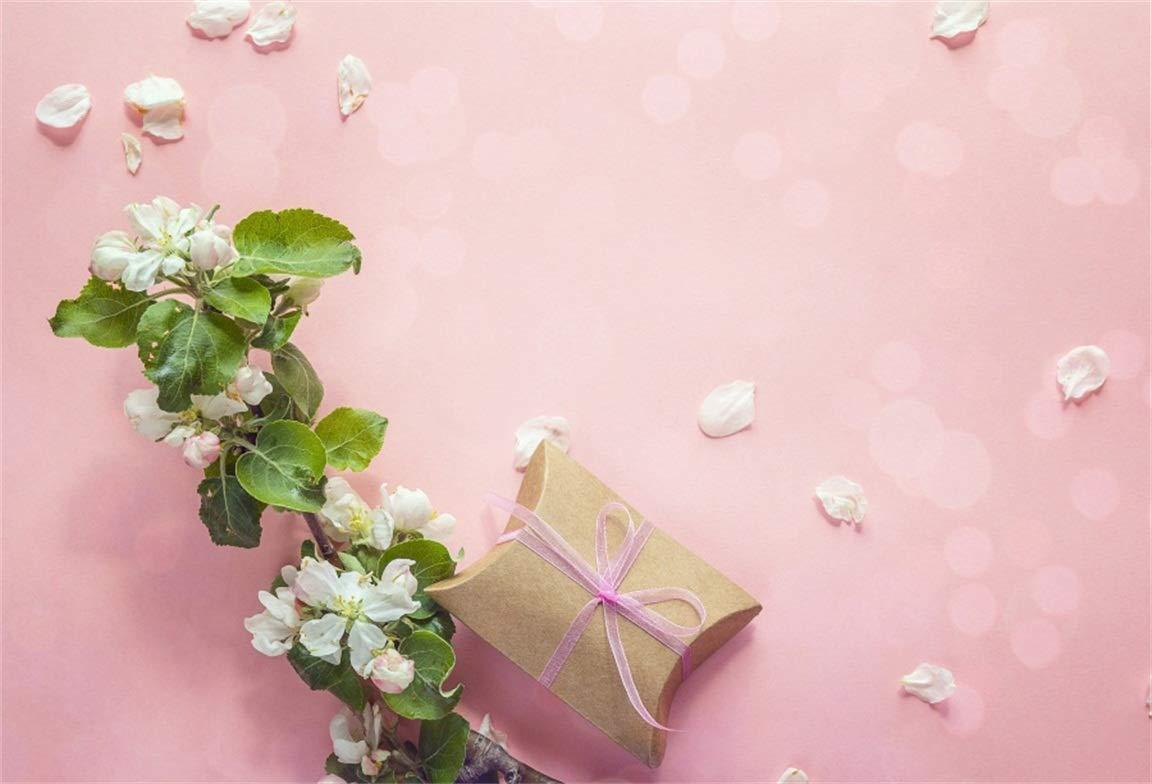 CSFOTO 5x3フィート 背景幕 花 ギフトボックス ピンク写真背景 ホリデーサプライズ 花びら ロマンチック デート バレンタイン 母の日 セレブレーション フォトスタジオ 小道具 ポリエステル壁紙   B07GXMXMN2