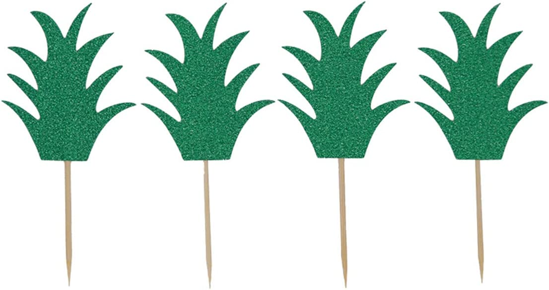 Topfun 24 pcs Pineapple Donut Topper Cake Picks Hawaiian Luau Summer Tropical Party Cupcake Decorations