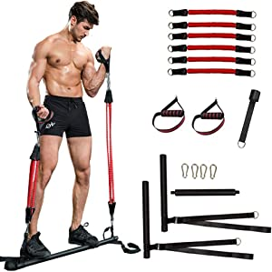 ZOVOTA Pilates Bar Set with Resistance Bands Portable Home Training Exercise Equipment Gym Full Body Workout for Men Women