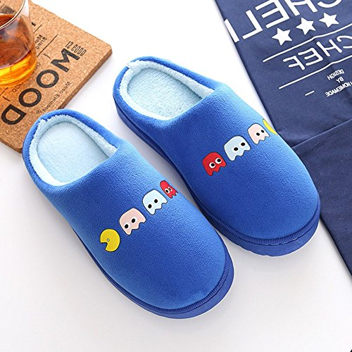 Inverno habuji pantofole di cotone cartoon femmina antiscivolo morbidi shoes home interni accoglienti scarpe maschio, 43-44, blu