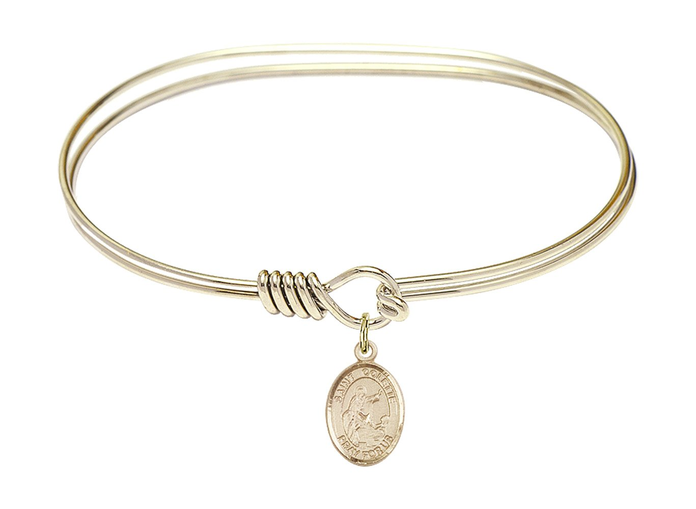 7 inch Oval Eye Hook Bangle Bracelet w/St. Colette in Gold-Filled