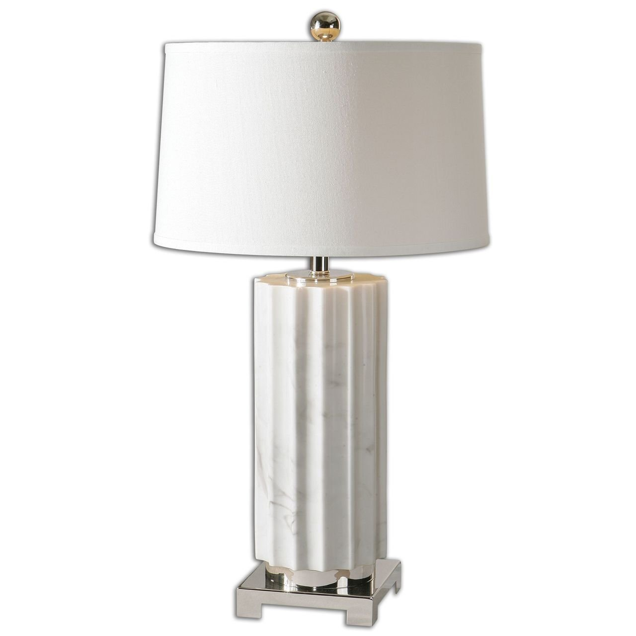 Scalloped White Marble Column Ceramic Table Lamp Modern Roman
